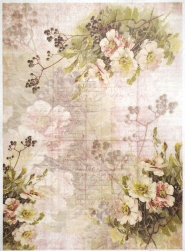 Rice Paper for Decoupage Scrapbook Craft Sheet A//3 Flower Wallpaper Multi