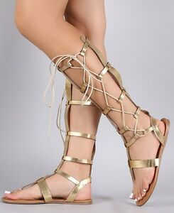 Gold Knee High Lace Up Gladiator Thong Flat Heel Roman Sandals ... f2fc9714b9