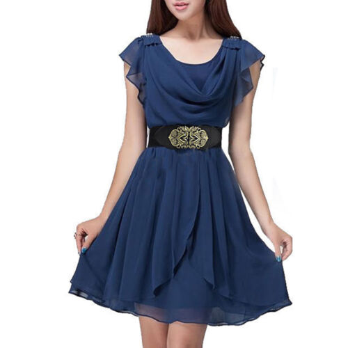 Women/'s Royal Court Metallic Flower Elastic Stretchy Dress Wide Waist Belts Band