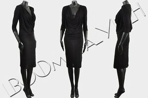 GIVENCHY-995-Authentic-New-Black-Silk-Blend-Jersey-Draped-Pencil-Dress-sz-36-4