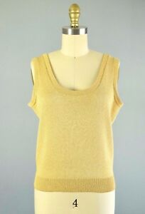 96e068ca1dada1 Image is loading ST-JOHN-Seperates-Gold-Sparkly-Wool-Knit-Tank-
