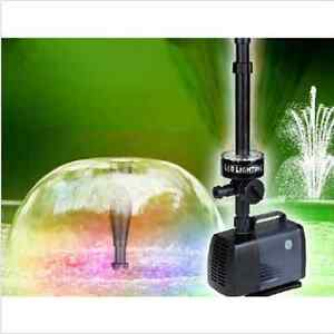 Fish pond Fountain Pump With Three Colors LED Lights 2000LPH Submersible Pump