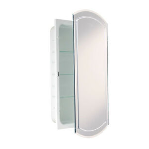 V Groove Beveled Eclipse Mirror Recessed Metal Bathroom