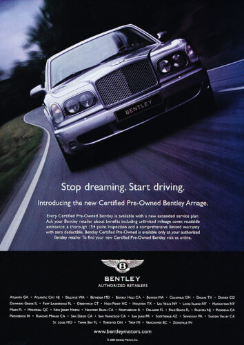 Classic Vintage Advertisement Ad D11 2004 Bentley Arnage pre-owned intro