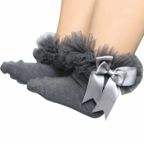 Toddler Baby Girls Tutu Socks Bow Lace Kids Infant Ruffle Frilly Ankle Socks UK
