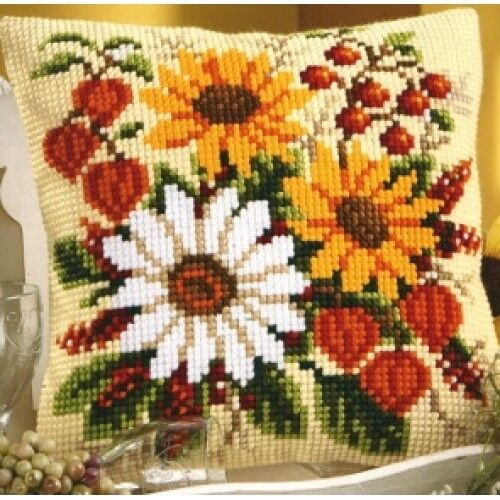 Cross Stitch Cushion Front Kit Sunflowers /& Daisies 1200//959 Vervaco