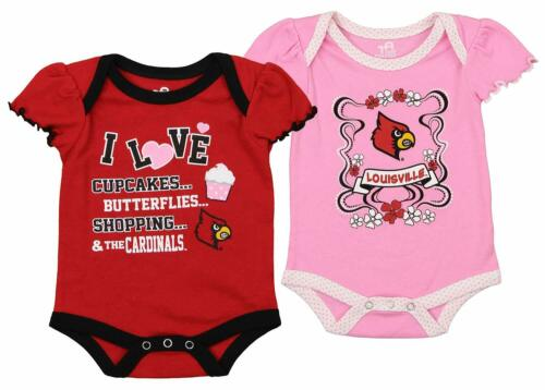 Outerstuff NCAA Infant Girls Louisville Cardinals Love Two Pack Creeper