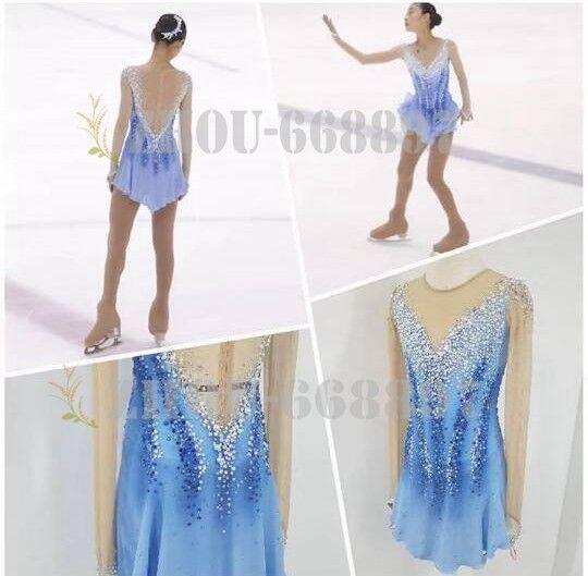 Figure Skating Dress Girls' Ice Skating Dress bluee Halo Dyeing Competion