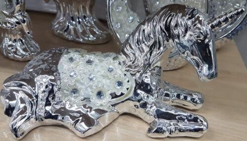 Silver//chrome /& white sparkle unicorns decorative ornaments with crystals