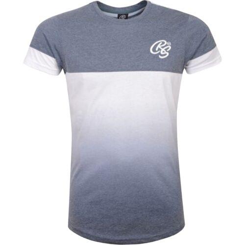 New Mens Crosshatch T-Shirt Summer Contrast Fade Top 2 Tone Tee Short Sleeved