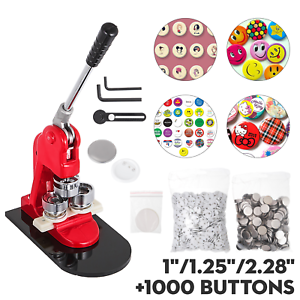 """1""""/1.25""""/2.28"""" Button Maker Machine+1000 Buttons Circle Badge Punch Press Pin US"""