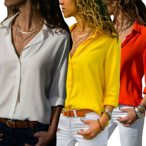 Lady-Women-039-s-Formal-Chiffon-Shirt-Office-Uniform-OL-Work-V-Neck-Blouse-Wear-Tops