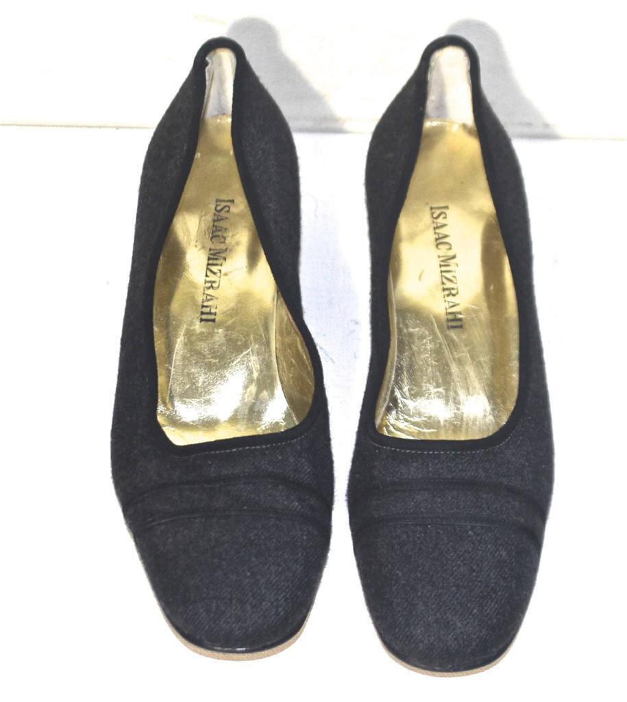 Isaac Mizrahi collection grey flannel smoking flat ballerina shoes 7 AA