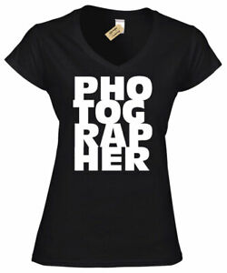 b6ef934007 Image is loading Womens-Photographer-Gift-Tee-Photography-T-Shirt-Camera-