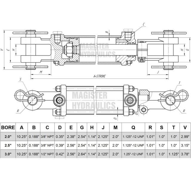211350 12 Stroke 1.25 Rod Dia Chief TC3 Tie-Rod Cylinder 3 Bore 3000 PSI