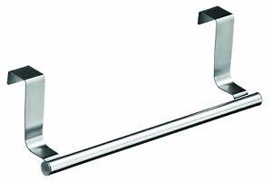 2 x Stainless Steel Over Cupboard Door Kitchen Tea Towel Rail Drawer Holder 23cm