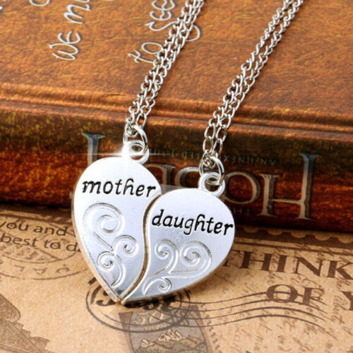 Silver Plated Charm Mother Daughter Flower Women Chain Pendant Necklace 2PC//Set