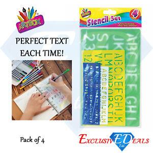 4-Pack-Stencil-Ruler-Fun-Stationary-Kids-Children-School-Art-amp-Crafts