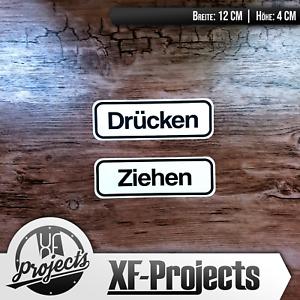 Aufkleber-Druecken-Ziehen-je-12x4cm-Gedruckter-Tuer-Aufkleber-Sticker