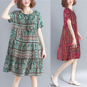 ZANZEA-Women-Short-Sleeve-Summer-T-Shirt-Dress-Floral-Print-Mini-Dress-Plus-Size