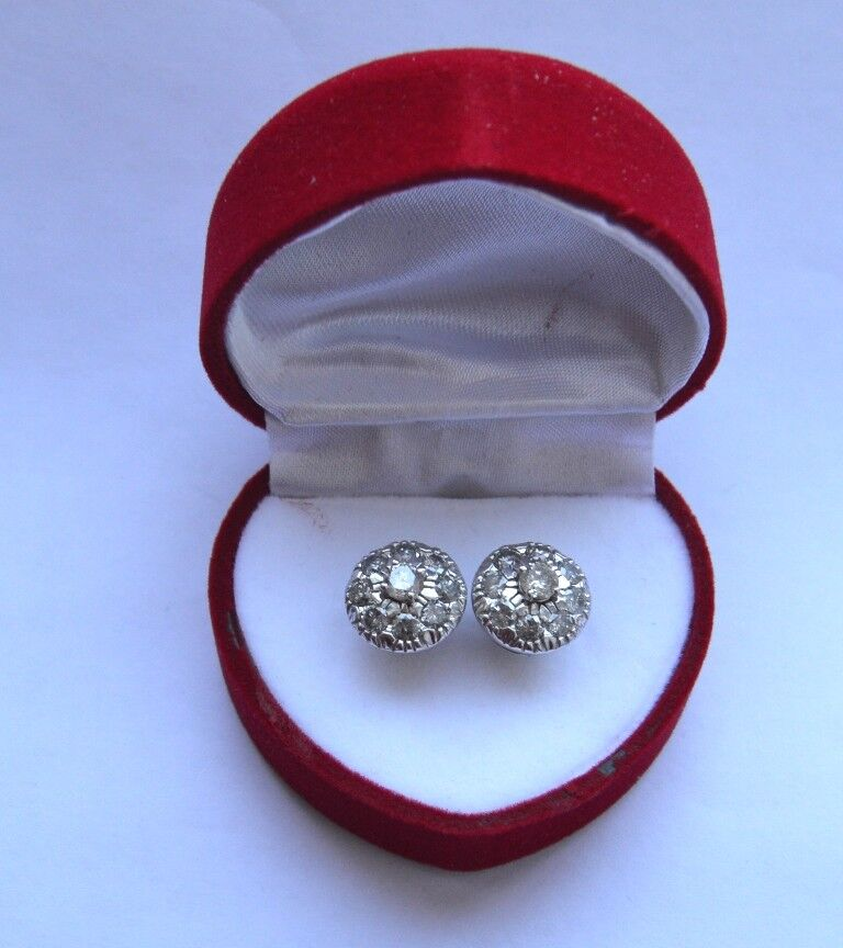 18K White gold  Natural 1.90 TCW H SI1 Diamond  Engagement Earrings