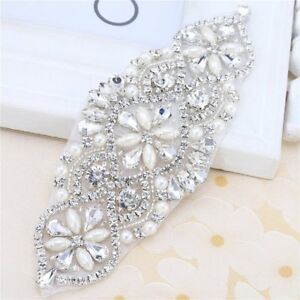 Image is loading 2pieces-Bridal-Belt-Rhinestone-Crystal-Beaded-Applique-for- 1d41ae58cadd