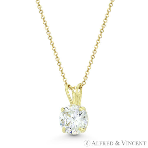 Solitaire rond brillant zircon cristal 14k or jaune lapin oreille 10mmx6mm Pendentif