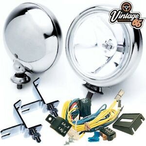 Klassisch-Mini-Chrom-Scheinwerfer-Paar-Klammern-Kabelsatz-Relais