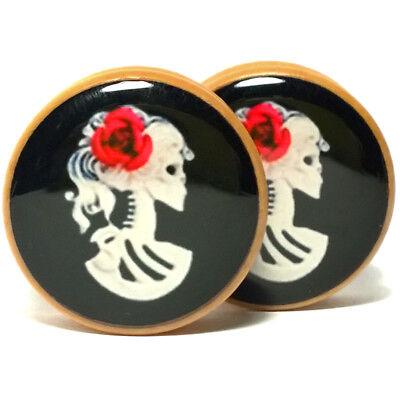 Pair Wood Handmade Ear Plugs Organic Gauges Flesh Tunnels Earring Flower of Life