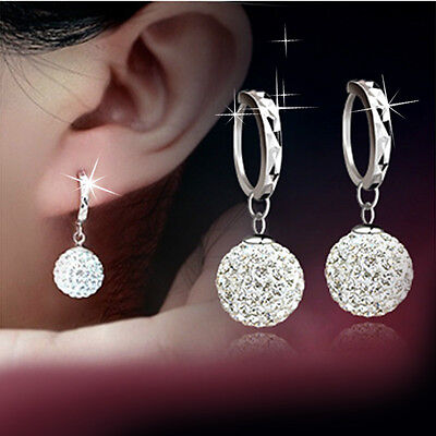 925 Sterling Silver Crystal Disco Pendant Necklace Dangle Drop Earrings Gift Box