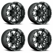 Set 4 15x8 Fuel Lethal D567 Black Milled Rims 5 Lug 5x55 Truck 18mm With Lugs