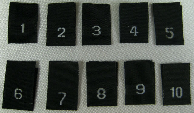 7//8 1//2 5//6 3//4 250 pcs WHITE WOVEN CLOTHING SEWING LABEL SIZE TAGS