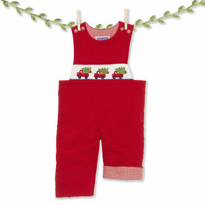 2c612b0cdac Image is loading Smocked-red-truck-amp-Christmas-tree-corduroy-longall-