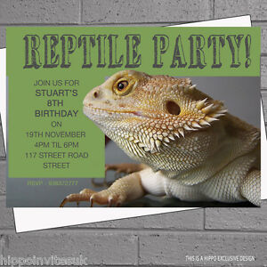 Bearded Dragon Reptile Childrens Birthday Party Invitations x 12
