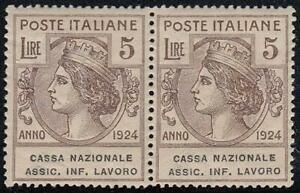 ITALY-1924-CASSA-NAZIONALE-5L-pair-23-MNH-CV-660-00-SCARCE