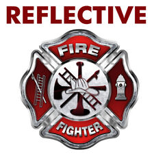 Firefighter Fire Rescue Maltese Cross Decal Gray Skulls REFLECTIVE FF32