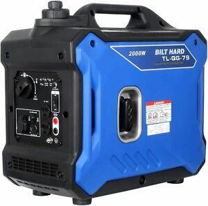 BILT HARD Super Quiet Portable Inverter Generator Gas 2000 Watt RV Ready Outdoor