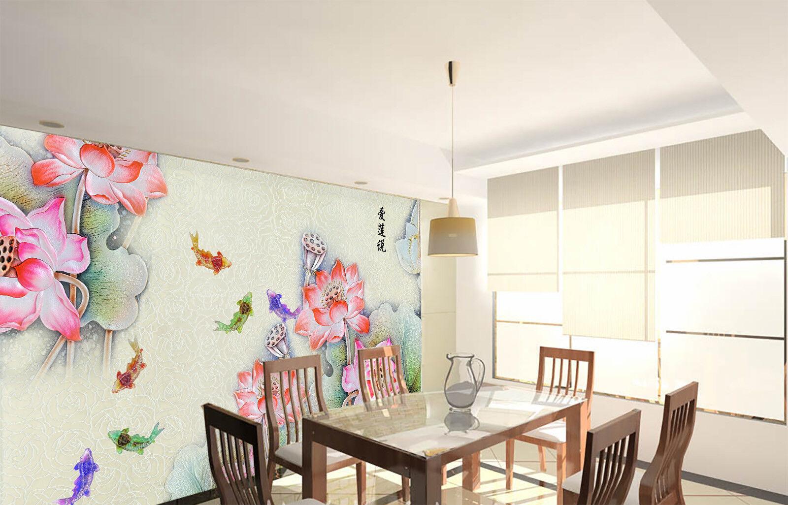 3D Rosa Lotus Fisch 753 Tapete Wandgemälde Tapete Tapeten Bild Familie DE Summer | Verbraucher zuerst  | Ausreichende Versorgung  | Fierce Kaufen