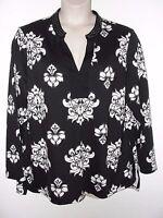 Jules & Leopold Black White Print Embellished Stretch Knit Tunic 3x 49bust