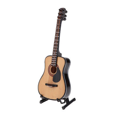 Mini Instrument Beige Guitar with Stand for Dollhouse Collectibles 1:6 Scale