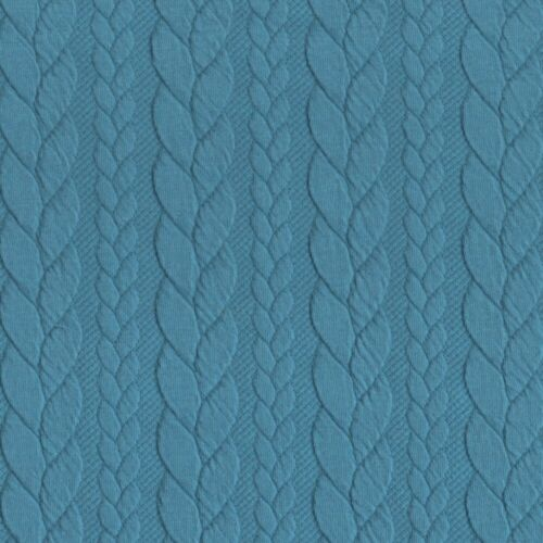 Rich Turquoise 660 Cable Knit Jersey Stretch Fabric Dressmaking