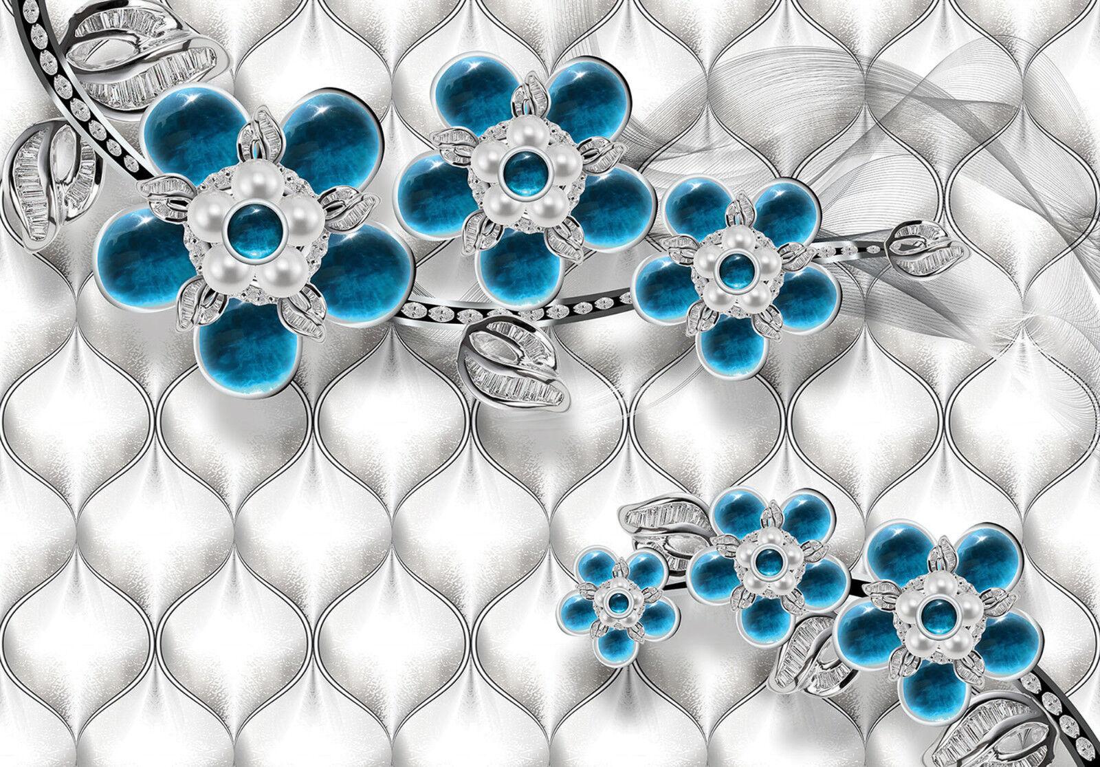 VLIES Fototapete-LUXUS DESIGN-(12059)-3D Blaumen Muster Abstrakt Perlen Diamanten
