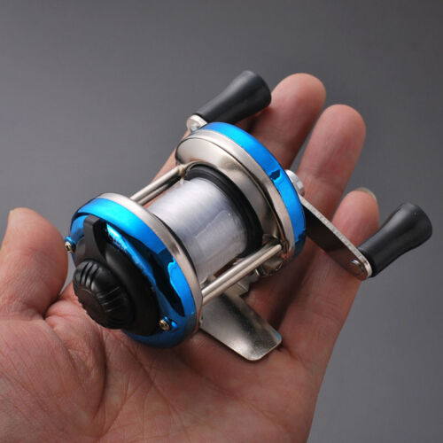 1*Mini Metal Casting Winter Ice Fishing Reel Wheel Baitcast Roller with 90m Wire