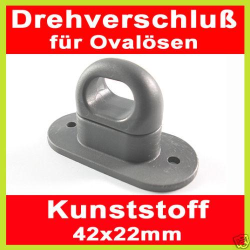 2 x cierre giratorio plástico para ovalöse 42x22 mm gris
