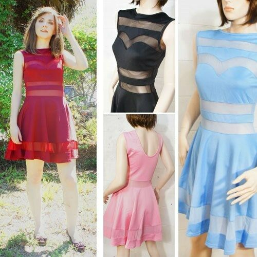 Womens Sexy Slim Skater Sheer Mesh Zip Striped Party Cocktail Club Evening Dress