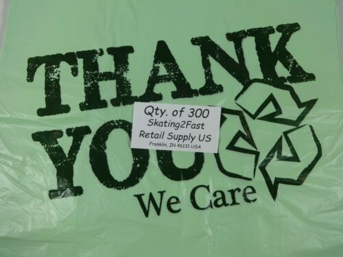 """Bio-Degradable THANK YOU T-Shirt Bags 11.5/"""" x 6/"""" x 21/"""" Green Plastic Bags Only"""