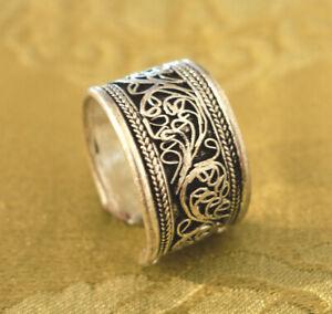 Traditioneller breiter Herren Silber RING aus Nepal FILIGRANE Handarbeit