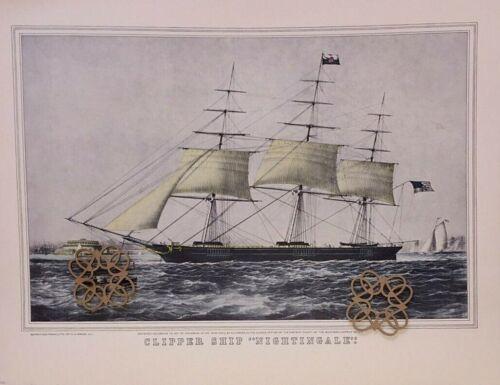 "VTG 1952 Currier /& Ives Art Print Antique Repro Clipper Ship 11.75x15/"" VARIETY"