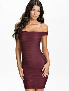 039784c4c7a Kleid Minikleid Bandeau Party Sexy Erotik Kurz Eng Stretch bordeaux ...