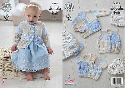King Cole Baby Cardigans /& Sweaters Melody Knitting Pattern 4917 DK KCP...